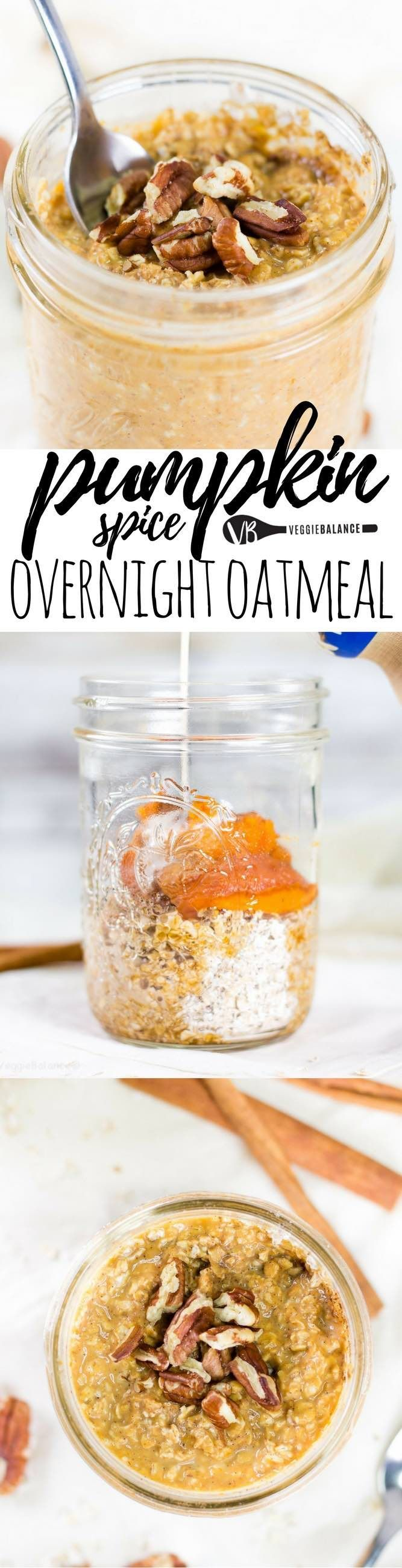 The Best Pumpkin Overnight Oatmeal recipe bring fall flavor and bliss of pumpkin back into our lives. Quick and Easy breakfast to start your day right as the cooler temps arrive. (gluten-free, dairy-free, low-sugar, vegan) Sponsored by @lovemysilk