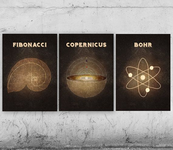 Science, Printable Art - Set of 3, Copernicus, Fibonacci, Bohr, Astronomy, Mathematics, Chemistry, Printable Posters, Great Sciencists