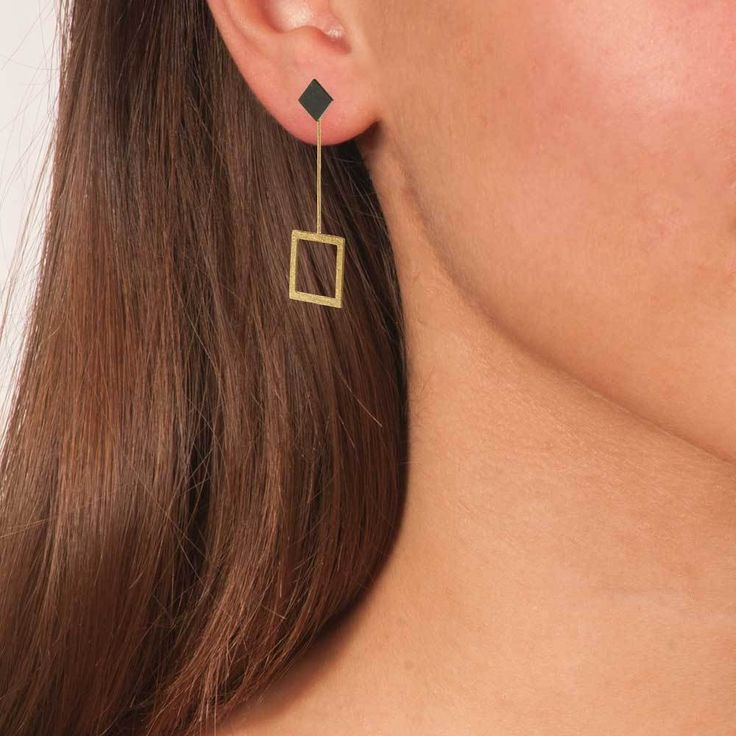 Gold & Black Plated Bronze Geometric Long Square Earrings 3 in 1 - Anthos Crafts