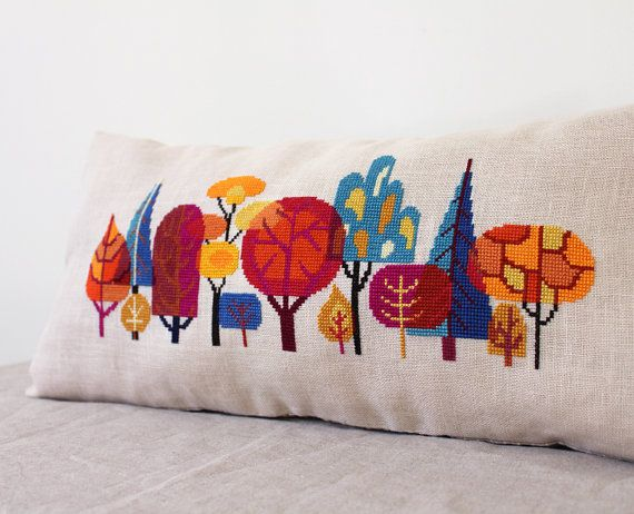 Forest modern trees cross stitch embroidery by SatsumaStreet, $6.00