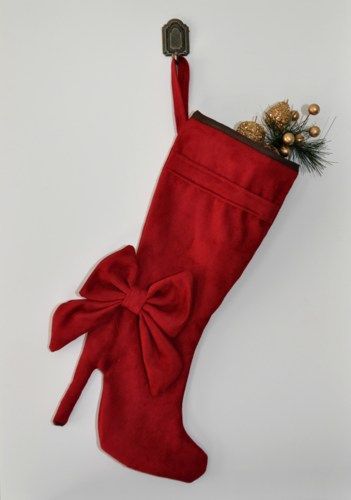 Burgandy high heel boot christmas stocking. | zorraindina - Seasonal on ArtFire