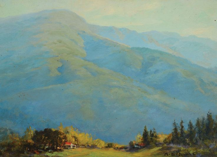 """ALBERT DE ROME (Californian 1885-1959) """"Mount Medona near Los Gatos from Frankie's Ranch above Howell Lake"""" Oil on canvas board #michaans #auctions #fineart http://www.michaans.com/highlights/2017/highlights_04082017.php"""