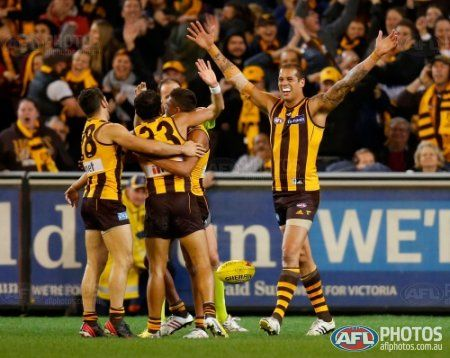 Hawthorn's Lance Franklin celebrates with team mates on the final siren the 2013 1st Preliminary Final match between the Hawthorn Hawks and the Geelong Cats at the MCG, Melbourne on September 20, 2013. (Photo: Justine Walker/AFL Media)
