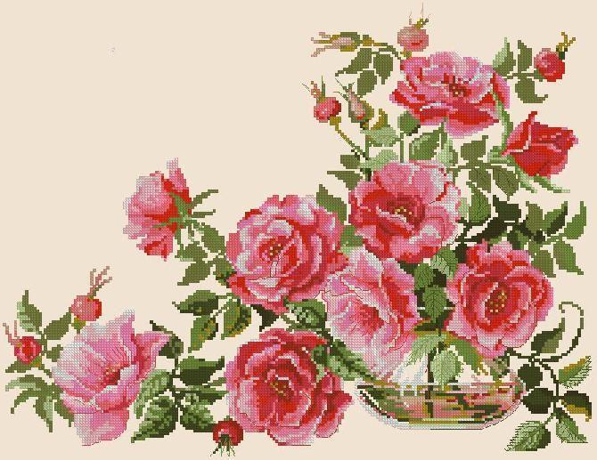 Розы - Схема вышивки крестом