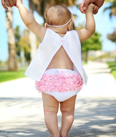 If you like swiss dot and pink ruffles....this baby girl's outfit is a must!