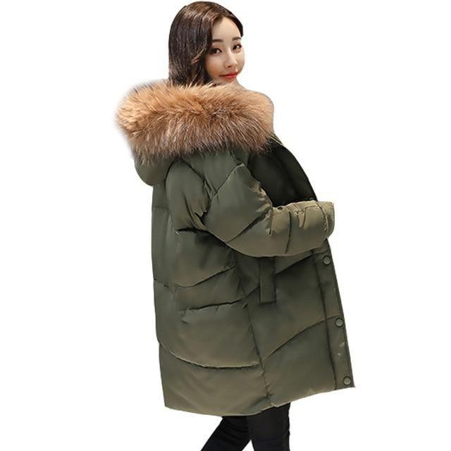 2018 New Loose Design Winter Jacket Women Hooded Coat Female Jacket Fur Coat Thick Warm Down Parka Long Plus Size Wadded Jacket
