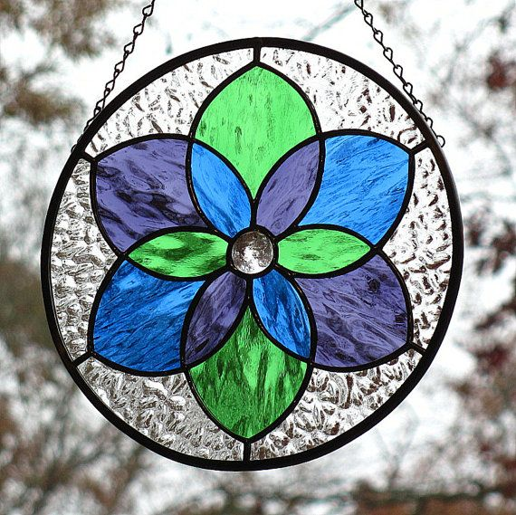 Tri Colored Stained Glass Six Pointed Star by LivingGlassArt