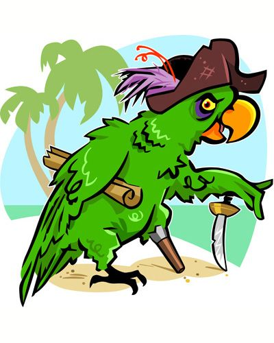 Cartoony parrot mascot on the front. I think I want the design to be mostly vector drawn images like this one.