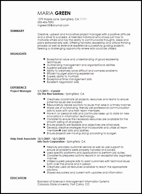Project Management Job Description Resume Inspirational Free Creative Project Manager Resume Template Project Manager Resume Manager Resume Resume Skills