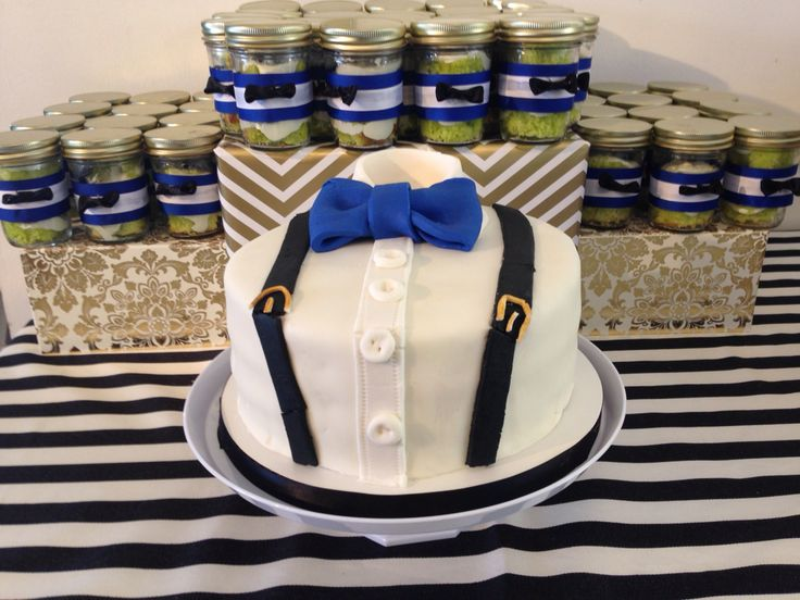 Little Gentleman baby shower cake with matching cake jars!