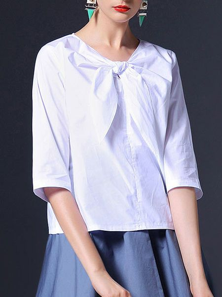 Bow Cotton Blouse