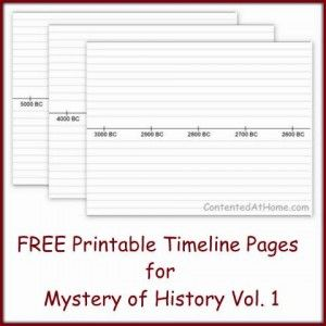 25 printable timeline pages with dates from 5000 B.C. through A.D. 45 (Can be used w/ any history -- she has just used MOH's recommended date increments)