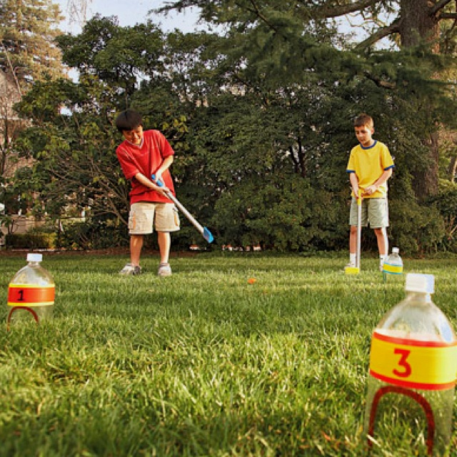 Simple homemade outdoor game. Mini-golf.