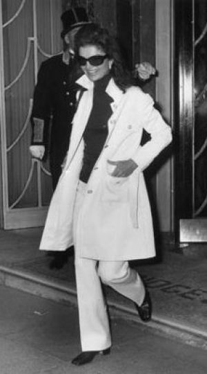 Jackie Kennedy style icon - she changed her style after JFK's death - big sunglasses, scarf, trench coat, jeans, skinny sweaters - she was also the first person to be followed by the paparazzi
