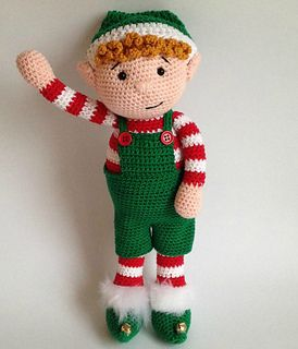 Christmas Elf - Difficulty: Confident Crocheters Only - Beginners may struggle with the hair and dungarees.