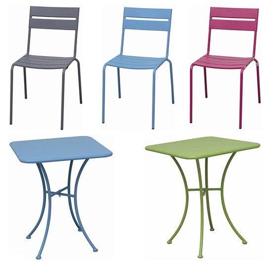 Idealne na balkon lub taras meble ze stali MAUI: krzesła + stoliki. - zdjęcie od meblefann.pl
