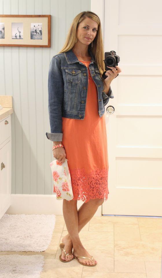 coral lace stitch fix dress with denim jacket