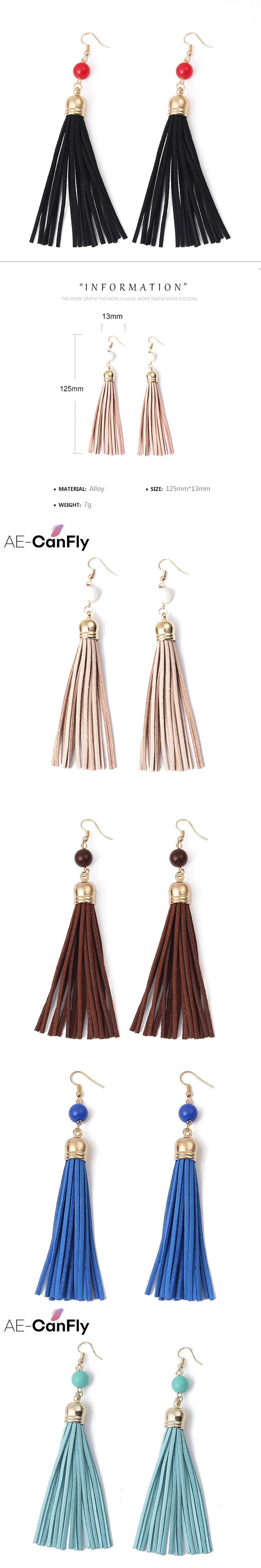 AE-CanFly Brand Newest Long Tassel Earring Faux Suede Fabric Dangle Drop Earring for Women Ear Jewelry 5 Colors 1I2013
