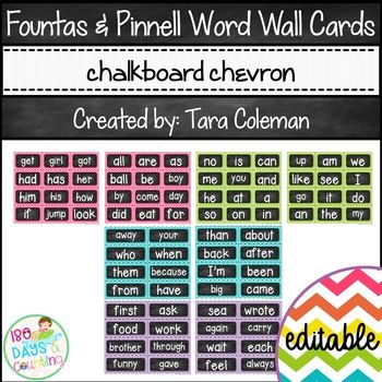 These Fountas & Pinnell word wall cards are perfect for your word wall! The bright, chevron pattern is sure to capture the eyes of your students. They help create a warm and welcoming classroom environment.