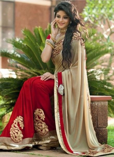 LadyIndia.com # Party Wear Saris, Latest Designer Half N Half Saree, Designer Sarees, Party Wear Saris, https://ladyindia.com/collections/ethnic-wear/products/latest-designer-half-n-half-saree