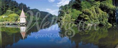 The lake at Zealandia in Wellington, New Zealand.