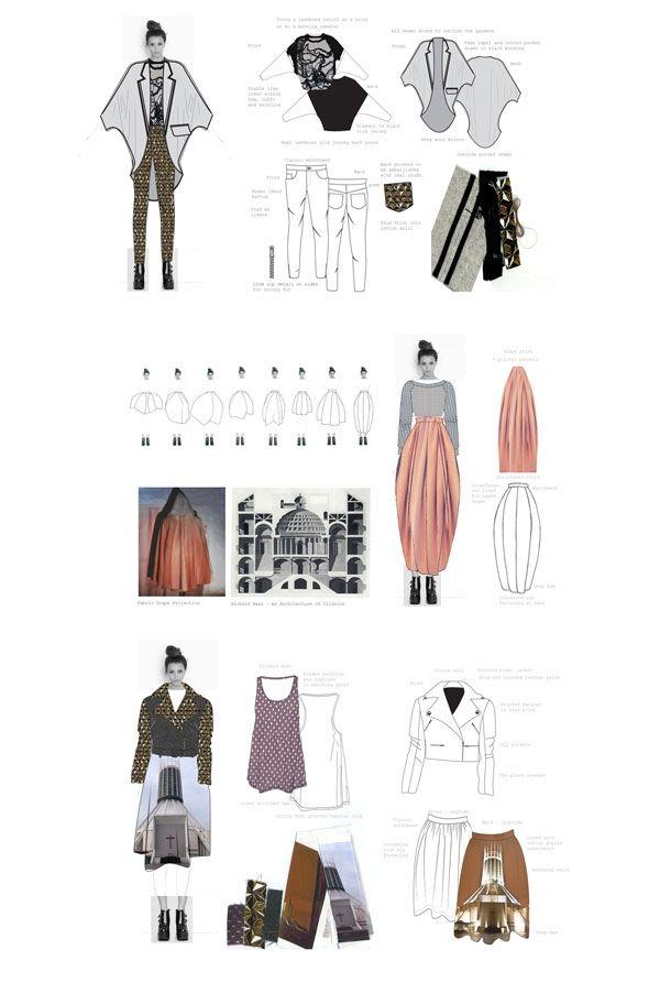 Fashion Portfolio - architecture inspired fashion design & development - fashion sketchbook; fashion illustration; fashion design flats // Roz Lamkin
