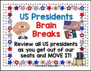 """FREE SOCIAL STUDIES LESSON – """"US President Brain Breaks""""  - Go to The Best of Teacher Entrepreneurs for this and hundreds of free lessons. Kindergarten - 6th Grade   http://thebestofteacherentrepreneursmarketingcooperative.net/free-social-studies-lesson-us-president-brain-breaks/"""