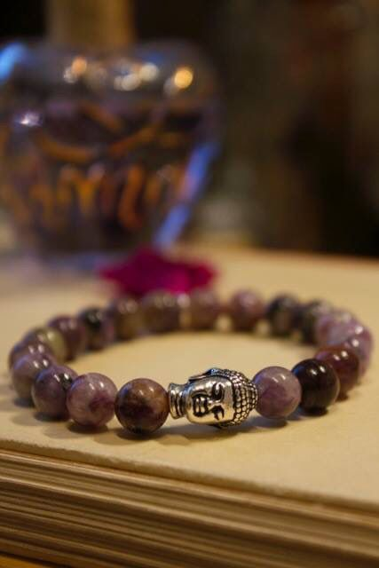 charoite gemstones with tassel and vintage silver Buddha #yoga bracelet#healingstone