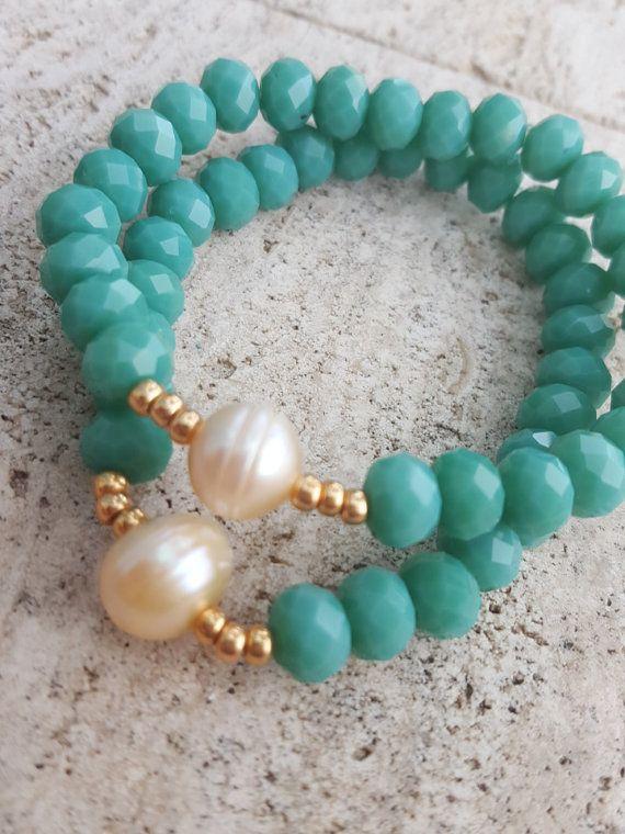 Verde checo cristal & perla por StilowsAccesories en Etsy