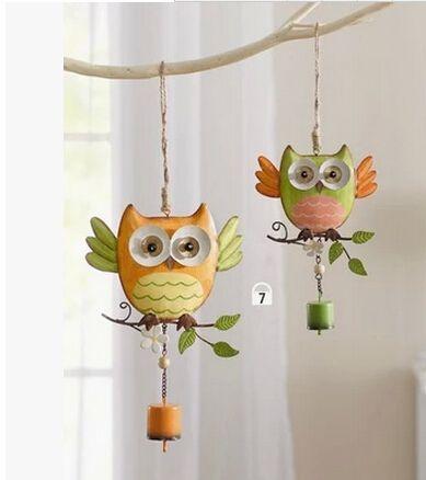 Frete grátis. loja de jardinagem Casa & Jardim decoração do ornamento decoração do quarto das crianças coruja de metal sinos de vento. Bonito coruja Campânula