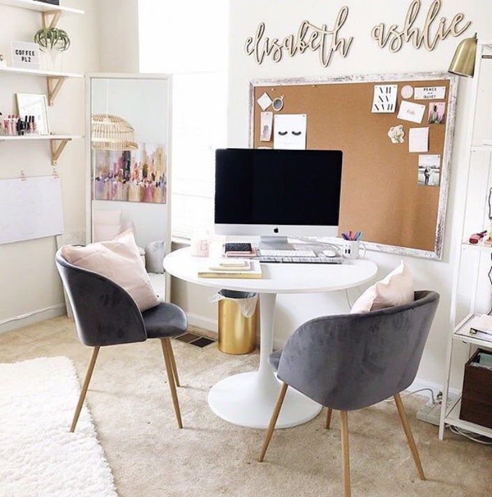 Pin By Ashita Sharda On Decor Home Office Table Feminine Home Offices Office Table Desk