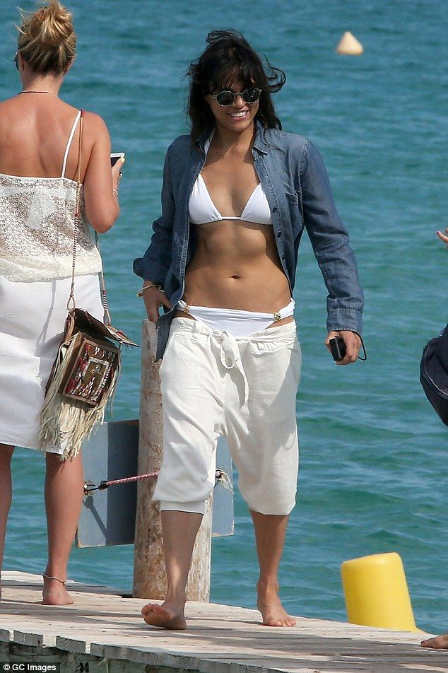 Toned and tanned: Michelle Rodriguez, 37, turned heads while simply being off-duty in Saint Tropez on Friday