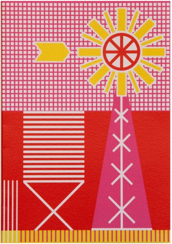 Water Station Tea Towel (pink, red and yellow on white)