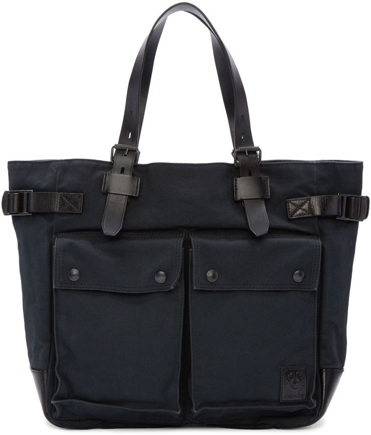 BELSTAFF Black Canvas Tote Bag. #belstaff #bags #canvas #tote #leather #lining #shoulder bags #hand bags #cotton #