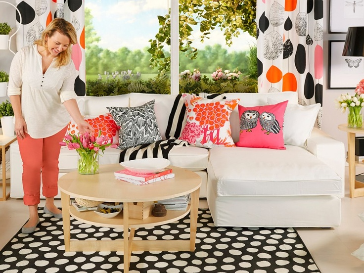 so cute love all the pillows and textures  ikea living