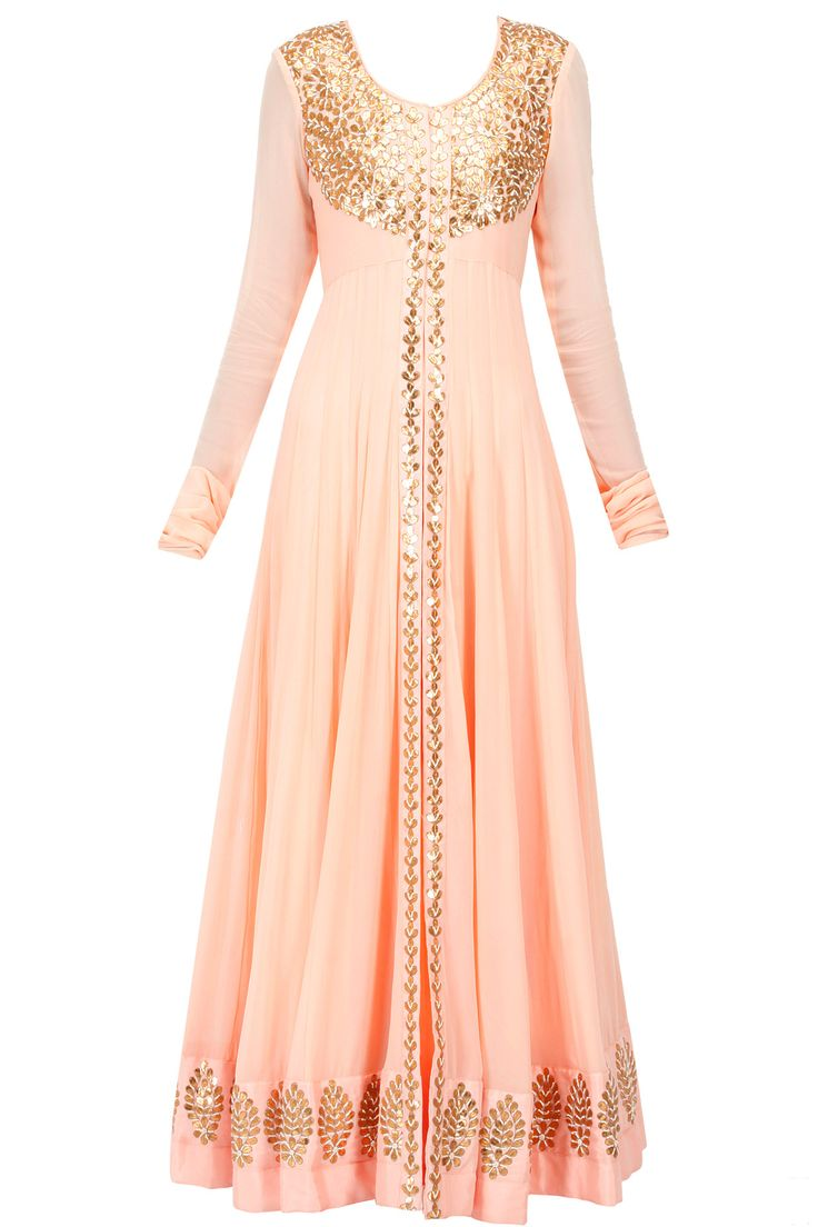 Peach gota patti jacket with inner gown available only at Pernia's Pop-Up Shop.