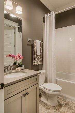 Contemporary Full Bathroom with Flat panel cabinets, limestone tile floors,  Slate, Pental Quartz  Small Bathroom IdeasBathroom ...