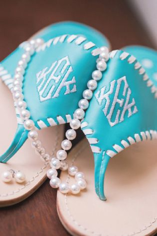 Monogrammed Tiffany blue Jack Rogers sandals for a preppy beach wedding