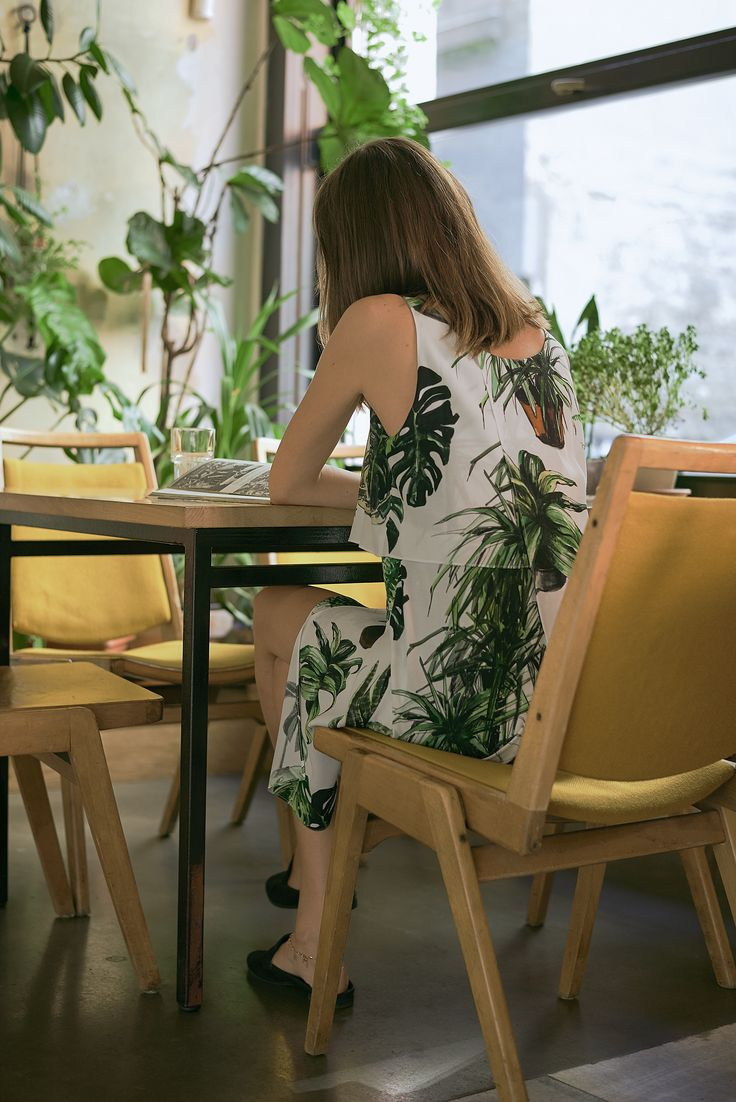 Plants print layered dress
