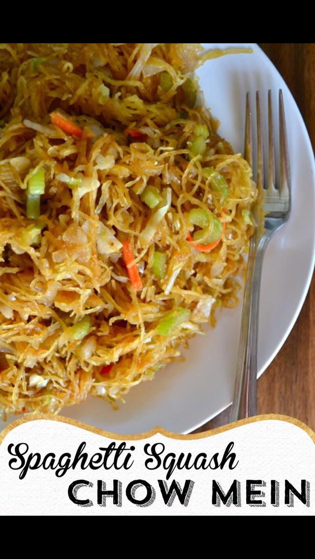 "1 lg spaghetti squash 1/4 c soy 3 cloves garlic 1 Tbsp palm sugar 2 tsp ginger 1/4 tsp white pepper 2 Tbsp oil 1 onion 3 stalks celery 2 c coleslaw mix  Cut squash lengthwise, scoop out seeds. Lay skin side up in pan in 1/2"" water. Bake @ 400  30-40 min, until flesh is tender. Scoop flesh & set aside.  Mix together soy, garlic, sugar, ginger & pepper-set aside.  Stir fry med: onion, celery 3-4 min, add cabbage mix until heated 1 min. Add squash & sauce mix-2 min.  Little Bits of Real Food.."