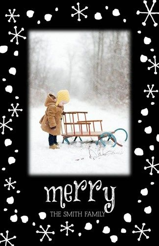 Holiday Christmas Photo Cards Add Photo(s) Any Colors Merry Snowflakes exclusively from ajinvites.artfire.com $8.00