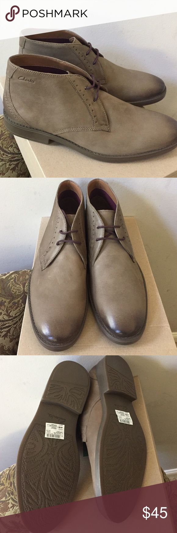 Men's Clarks ankle boots Men's Clarks ankle boots. Greige size 10. Husband doesn't like. NWT, box & never worn. Suede look but are a soft leather. Clarks Shoes Boots