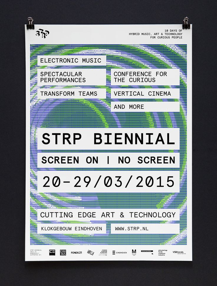 Visual identity, posters, print and signage by Raw Color for Dutch art, technology and experimental pop culture festival STRP 2015.