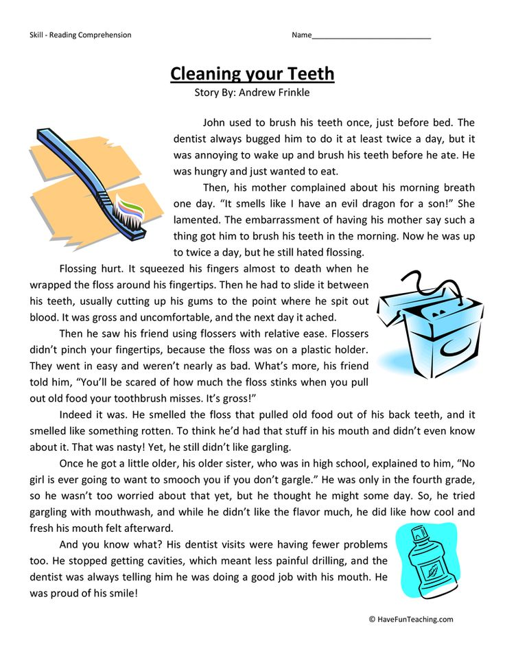 Cleaning Your Teeth Fourth Grade Reading Comprehension