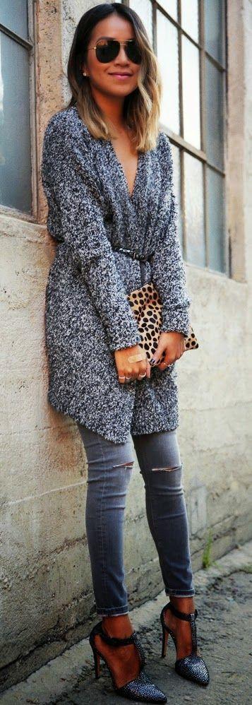 Silver Grey Oversized Cardigan Belt and Pretty Leopard Bag.