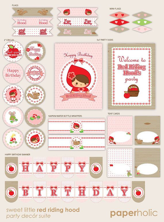 Sweet Little Red Riding Hood - Essentials Party Décor Suite - Printable Supplies by Paperholic on Etsy, $15.00