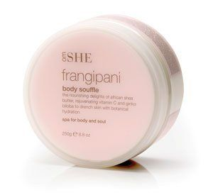 SHE Frangipani Body Soufflé - 8.8 oz. by She. $25.23. The nourishing delights of African She Butter, rejuvenating Vitamin C and Ginko Biloba to drench skin with botanical hydration.. East meets West with the union of naturopathic principles and modern skin science.. Spa for Body and Soul.. 8.8	oz. - 250 g. SHE Frangipani Body Soufflé - 8.8 oz.. The nourishing delights of African She Butter, rejuvenating Vitamin C and Ginko Biloba to drench skin with botanical hydration.  ...