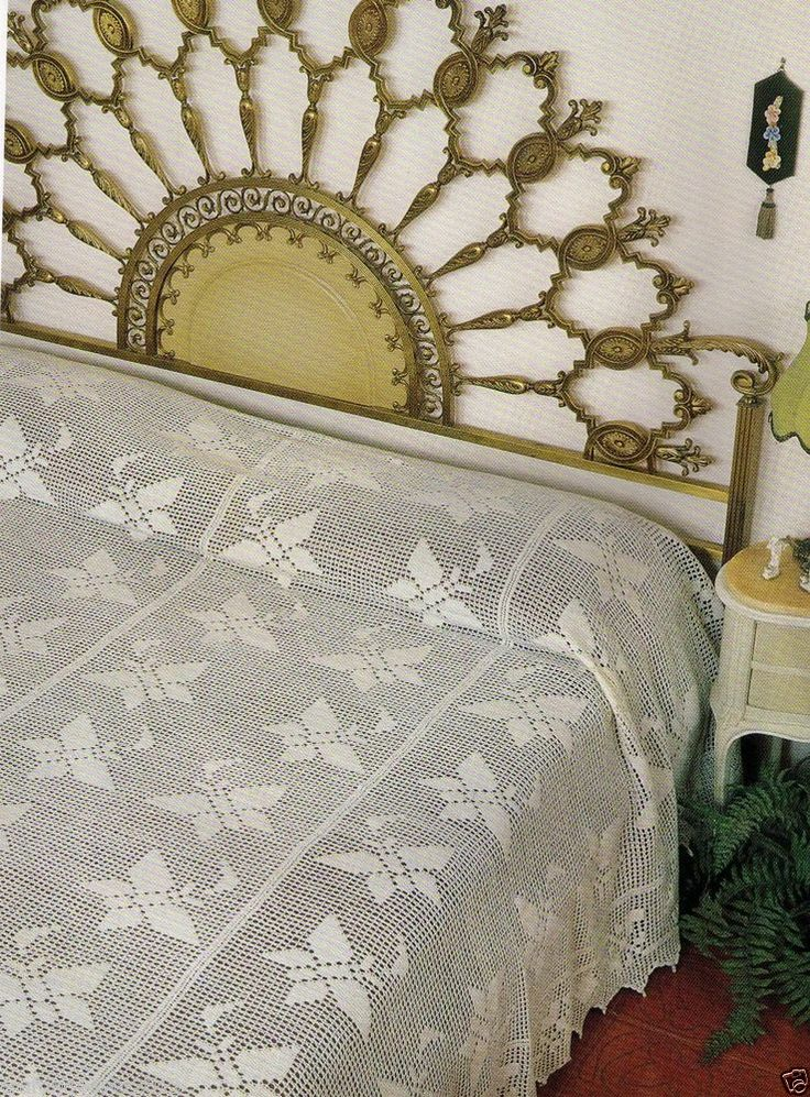 VINTAGE FOLLY BUTTERFLY BEDSPREAD QUILT-260 X 242.5 CMS- COTTON? CROCHET PATTERN