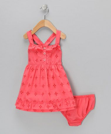 WANT!!!!! Take a look at this Coral Sundress & Diaper Cover - Infant & Toddler by Baby Togs on #zulily today!