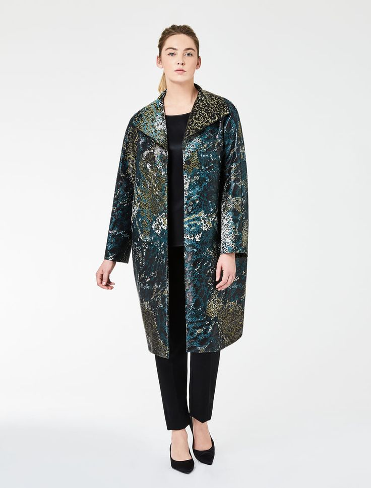 Marina Rinaldi TIGROTTO china blue: Coat in dapple-effect jacquard.